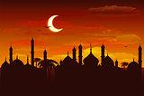 Moon in night sky over mosque. Ramadan Kareem background