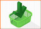 add to cart basket vector 3d illustration
