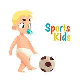 Baby in diaper playing football