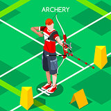 Archery 2016 Summer Games Isometric 3D Vector Illustration