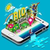 Brasil Rio Summer Infographic 3D Isometric Vector Illustration