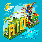 Brasil Rio Summer Infographic Isometric 3D Vector Illustration