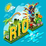 Brasil Rio Summer Infographic Isometric 3D Vector Illustration