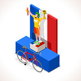 Cyclist Tour Winner Isometric People 3D Vector Illustration