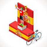 Cyclist Vuelta Winner Isometric People 3D Vector Illustration
