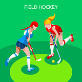 Field Hockey 2016 Summer Games 3D Isometric Vector Illustration