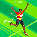 Running Winner 2016 Summer Games 3D Isometric Vector Illustratio
