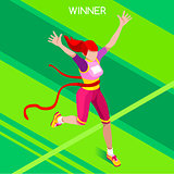 Running Winner 2016 Summer Games Isometric 3D Vector Illustratio