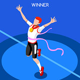 Running Winning Man 2016 Summer Games Isometric 3D Vector Illust