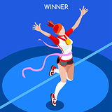 Running Winning Woman 2016 Summer Games 3D Vector Illustration