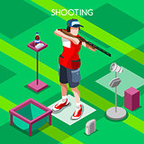 Shooting 2016 Summer Games Isometric 3D Vector Illustration
