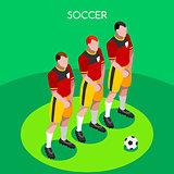 Soccer Barrier 2016 Summer Games 3D Isometric Vector Illustratio