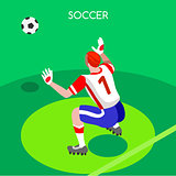 Soccer Goalkeeper 2016 Summer Games 3D Vector Illustration