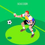 Soccer Goalkeeper 2016 Summer Games Isometric Vector Illustratio