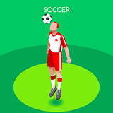 Soccer Header 2016 Summer Games 3D Isometric Vector Illustration
