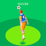 Soccer Header 2016 Summer Games Isometric 3D Vector Illustration