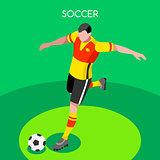 Soccer Striker 2016 Summer Games 3D Vector Illustration