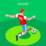 Soccer Striker 2016 Summer Games Isometric 3D Vector Illustratio