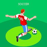 Soccer Striker 2016 Summer Games Isometric 3D Vector Illustratio