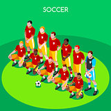 Soccer Team 2016 Summer Games 3D Isometric Vector Illustration