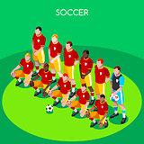 Soccer Team 2016 Summer Games 3D Isometric Vector Illustration