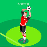 Soccer Throw 2016 Summer Games Isometric 3D Vector Illustration