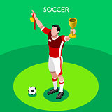 Soccer Winner 2016 Summer Games 3D Isometric Vector Illustration