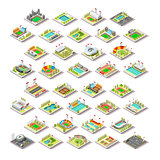 Sport Facility Buildings Set 3D Isometric City Vector Illustrati