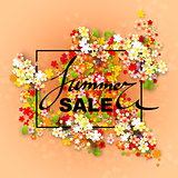 Summer Sale banner with paper flowers and black frame.