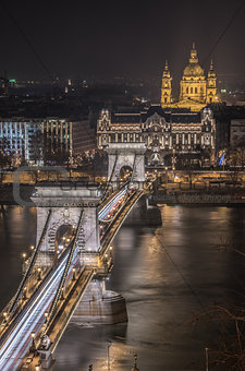 Chain Bridge and St. Stephen's Basilica in Budapest, Hungary at