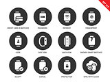 Business smartwatch icons on white background
