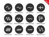 Sound waves set icons on white background.