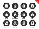 Technology gifts icons on white background