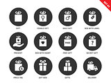 Presents icons on white background