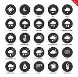 Weather forecasting icons on white background