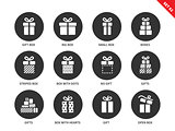 Gifts icons on white background