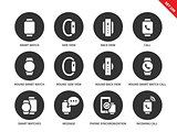 Smartwatch icons on white background