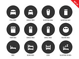 Beds and furniture icons on white background