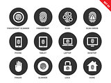 Finger-print icons on white background