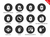 Media smartwatch icons on white background