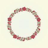 Vector vintage doodle flowers frame for text