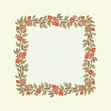 Vector vintage doodle flowers frame for text