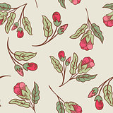 Vector vintage doodle flowers seamless pattern