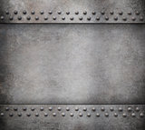 grunge metal background with rivets 3d illustration