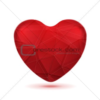 Bright red polygonal heart vector background