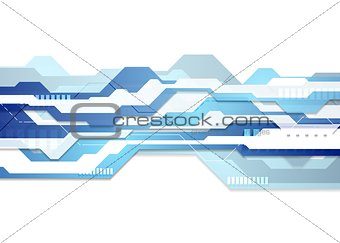 Blue and white tech geometric flyer background