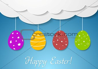 Flat vector design with Easter eggs and clouds