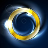 Blue and golden iridescent round logo