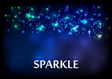 Dark blue sparkling vector bokeh background