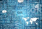 Blue abstract tech background with words